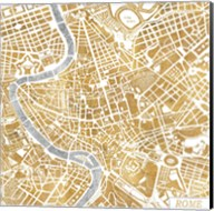 Gilded Rome Map Fine-Art Print
