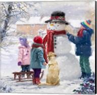 Kids With Snowman Fine-Art Print