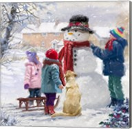 Kids With Snowman Fine-Art Print