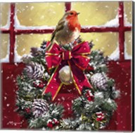 Robin On Wreath Fine-Art Print