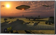 Alien UFO Flying over an American Airbase Fine-Art Print