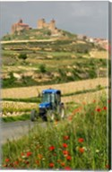 Blue tractor on rural road, San Vicente de la Sonsierra Village, La Rioja, Spain Fine-Art Print