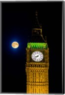 London, Big Ben Clock tower, the moon Fine-Art Print
