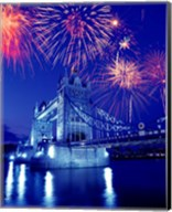 Fireworks over the Tower Bridge, London, Great Britain, UK Fine-Art Print