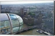 London Eye as it passes Parliament and Big Ben, Thames River, London, England Fine-Art Print