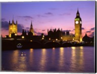 Big Ben, Houses of Parliament and the River Thames at Dusk, London, England Fine-Art Print