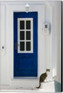Village Door with Cat, Kokkari, Samos, Aegean Islands, Greece Fine-Art Print