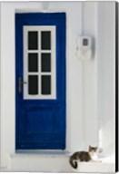 Greece, Aegean Islands, Samos, Door, Cat Fine-Art Print