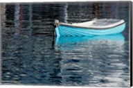 Greece, Cyclades, Mykonos, Hora Blue Fishing Boat with Reflection Fine-Art Print