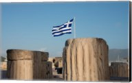 Greece, Athens, Acropolis Column ruins and Greek Flag Fine-Art Print