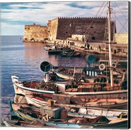 Greece, Crete, Fishing boats, Rossa al Mare Fine-Art Print