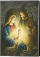 Mary and Joseph Glowing Manger Scene Fine-Art Print