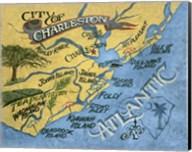 Charleston, South Carolina Beach Map Fine-Art Print