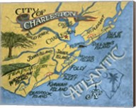 Charleston, South Carolina Beach Map Fine-Art Print