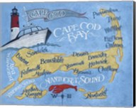 Cape Cod Beach Map Fine-Art Print