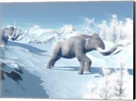 Mammoths Walking Slowly on the Snowy Mountain Against the Wind Fine-Art Print