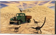 Velociraptors React Curiously to a 1930's American Pickup Truck Fine-Art Print