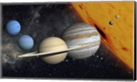 The Planets and Larger Moons to scale with the Sun Fine-Art Print