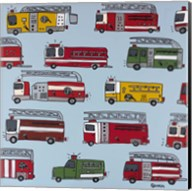 Fire Trucks Blue Fine-Art Print