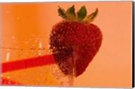 Strawberry On Red Swirl Glass Fine-Art Print