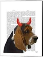 Basset Hound and Devil Horns Fine-Art Print