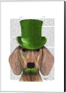 Dachshund With Green Top Hat and Moustache Fine-Art Print