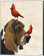 Basset Hound and Birds II Fine-Art Print