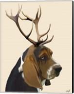 Basset Hound and Antlers II Fine-Art Print