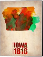 Iowa Watercolor Map Fine-Art Print