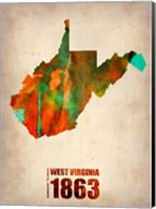 West Virginia Watercolor Map Fine-Art Print