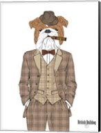British Bulldog In Tweed Suit Fine-Art Print
