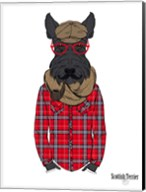 Scottish Terrier In Pin Plaid Shirt Fine-Art Print