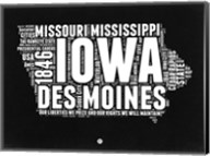 Iowa Black and White Map Fine-Art Print