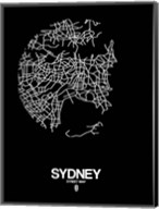 Sydney Street Map Black Fine-Art Print