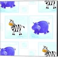 Zebras and Hippos Fine-Art Print