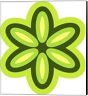 Mod Flowers Cut out Green Fine-Art Print