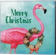 Christmas Flamingo Text Fine-Art Print
