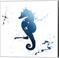 Seahorse Splatter Indigo Fine-Art Print
