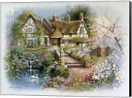 Cottage Scene With Swan Fine-Art Print
