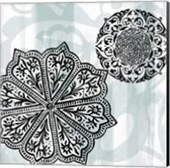 Rosettes on Aqua II Fine-Art Print