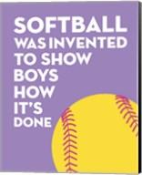 Softball Quote - Yellow on Purple 2 Fine-Art Print