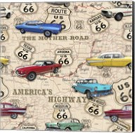 Route 66 Muscle Car Map Fine-Art Print