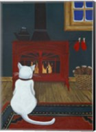 Mittens Warming By The Fire Fine-Art Print