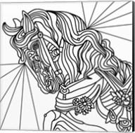 Carousel Pony 2 Lineart Fine-Art Print