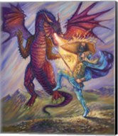 Blue Knight And Dragon Fine-Art Print