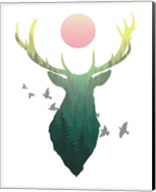 Green Ombre Forest in Stag Silhouette Fine-Art Print