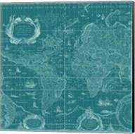 Blueprint World Map, teal Fine-Art Print