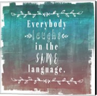 Ombre Everybody Laughs Teal Fine-Art Print