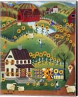Primitive Quilt Maker House Sunflower Sheep Fine-Art Print
