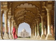 Woman in traditional Sari walking towards Taj Mahal Fine-Art Print